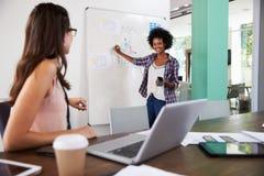 一起研究膝上型计算机的两名女实业家在办公室 免版税库存图片