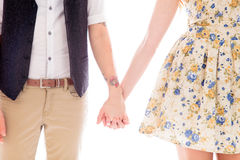 一起站立和握手的女同性恋的夫妇 库存图片