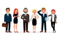 一起站立在平的设计的商人传染媒介例证 套各种各样的商人漫画人物 库存例证