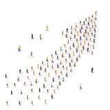 一起站立在箭头的形状的人们 库存图片