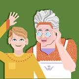 一起站立的祖父母和照片的孩子和姿势 向量例证