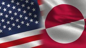 一起美国格陵兰现实半旗子 库存例证