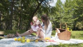 一起花费时间在城市公园的野餐的两个人、母亲和年轻女儿家庭  15个妇女年轻人 股票视频