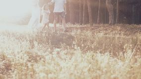 一起花费时间的愉快的年轻家庭外面在绿色自然 股票录像