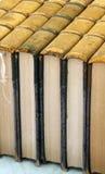 一起被堆积的古色古香的书 免版税库存图片