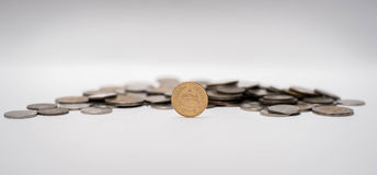 一起被堆积的泰铢硬币 图库摄影