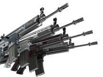 一起被堆积的现代军队攻击步枪 皇族释放例证