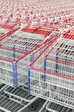 一起被堆积的美国购物车购物 免版税库存照片