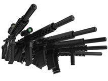 一起被堆积的黑现代攻击步枪 皇族释放例证