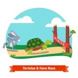 一起赛跑的龟兔赛跑赢取 库存图片