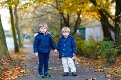 一起走在秋天公园的两个孩子男孩 免版税图库摄影