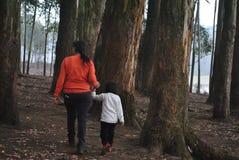 一起走通过生活、母亲和女儿 库存照片