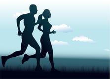 一起跑的男人和的妇女 免版税库存图片