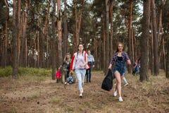 一起远足森林概念的年轻旅游小组 库存照片
