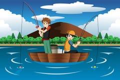 一起钓鱼的孩子 库存照片