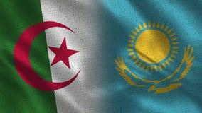 一起阿尔及利亚和哈萨克斯坦现实半旗子 库存例证