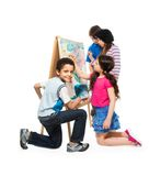 创造性的男孩和女孩 免版税图库摄影