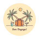 一路平安 手提箱和棕榈树 也corel凹道例证向量 免版税库存照片