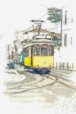 一辆传统老电车的例证在里斯本 皇族释放例证