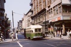 一辆公共汽车的葡萄酒图象在费城的Germantown部分, PA的 库存图片
