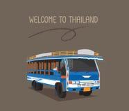 一辆公开公共汽车或木头出租汽车在普吉岛 库存图片