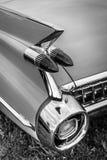 一辆大型豪华汽车卡迪拉克小轿车DeVille的后方交通信号灯, 1959年 免版税库存图片