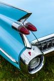 一辆大型豪华汽车卡迪拉克小轿车DeVille的后方交通信号灯, 1959年 免版税库存照片