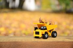 一辆小玩具黄色卡车用黄色下落的叶子装载 汽车站立木表面上反对背景模糊 库存图片