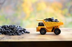 一辆小黄色玩具卡车用向日葵种子装载在小堆向日葵种子旁边 在的一辆汽车木表面agains 库存图片