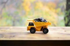 一辆小黄色玩具卡车用向日葵种子装载 木表面上的一辆汽车反对秋天森林萃取物背景  免版税库存照片