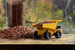 一辆小黄色玩具卡车用荞麦和一杯棕色五谷在荞麦堆附近的装载义膜性喉炎 在木头的一辆汽车 免版税库存图片