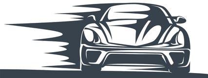 一辆快速的赛车的象在行动的 向量例证