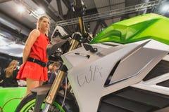 一辆摩托车的细节在EICMA的2014年在米兰,意大利 免版税图库摄影