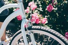 一辆时髦的自行车的细节反对灌木背景的与 免版税图库摄影
