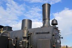 一辆有历史的蒸汽机车的详细资料 库存图片