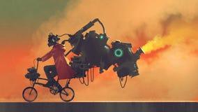 一辆未来派自行车的机器人人 向量例证