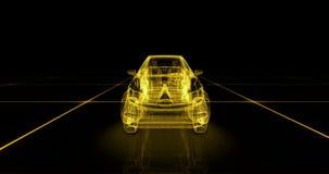 一辆未来派绿色汽车的抽象动画在4K的 影视素材