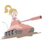 一辆桃红色坦克的动画片女孩 免版税库存图片