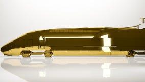 一辆汽车的金黄3d翻译在演播室里面的 免版税库存图片