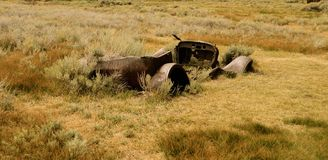 一辆汽车的骨骼在Bodie国家公园的 免版税库存图片
