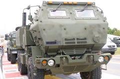 一辆流动炮火箭系统车 免版税图库摄影