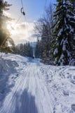 一辆滑雪电缆车的滑雪者在山坡 免版税库存照片