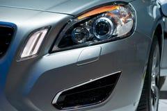 一辆现代汽车的详细资料与车灯的 免版税库存照片