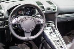 一辆现代跑车的内部 免版税库存图片