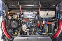 一辆现代公共汽车的引擎海湾 库存照片