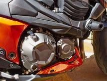 一辆现代摩托车摩托车的细节 库存图片