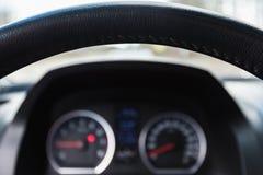 一辆现代汽车的方向盘 库存图片