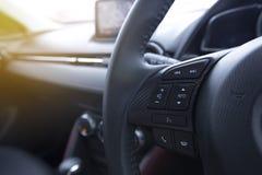一辆现代汽车的音频控制按钮 库存图片