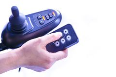 一辆电动轮椅的控制系统患者的 免版税库存照片