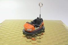一辆碰撞用汽车的微型图 库存图片